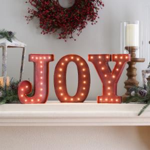 12 in. Rustic Red Metal Letter Joy Sign with Battery Operated LED Lights