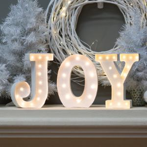 10 in. White Glitter Metal Letter Joy Sign with Battery Operated LED Lights