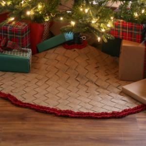 48 in. Burlap Braided Tree Skirt with Red Ruffle Trim