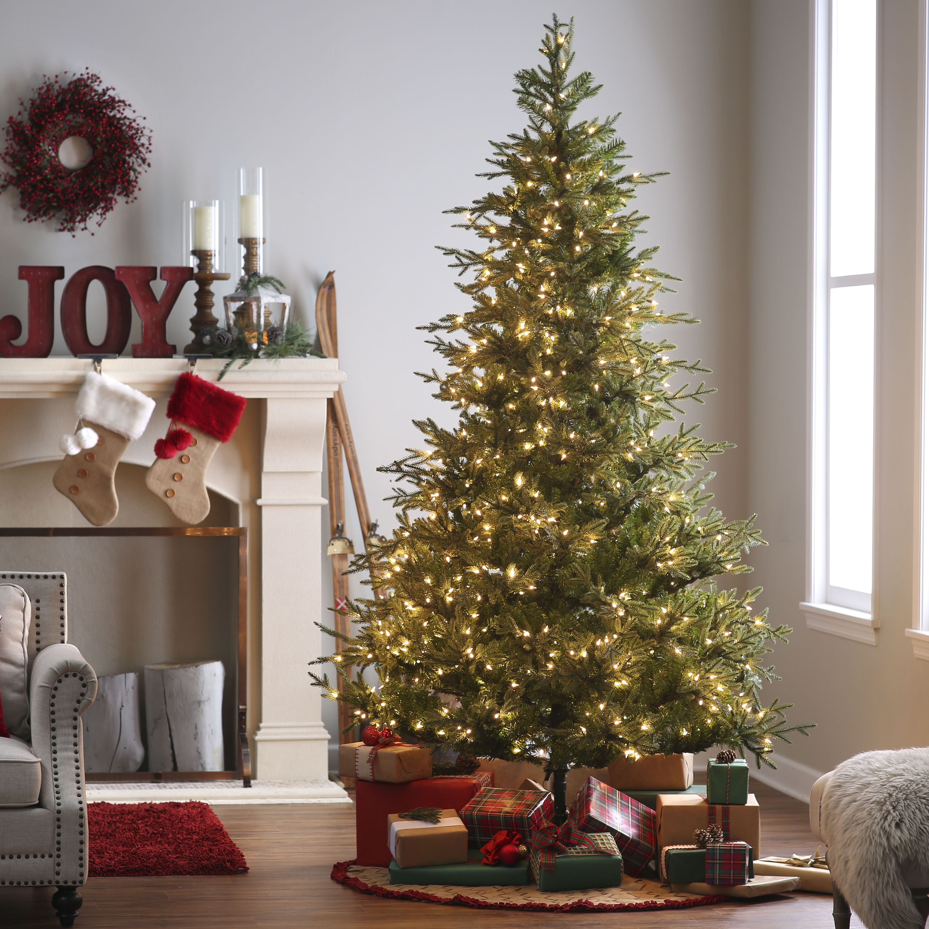 natural cut upswept chesterfield spruce pre lit christmas tree by sterling tree company. Black Bedroom Furniture Sets. Home Design Ideas