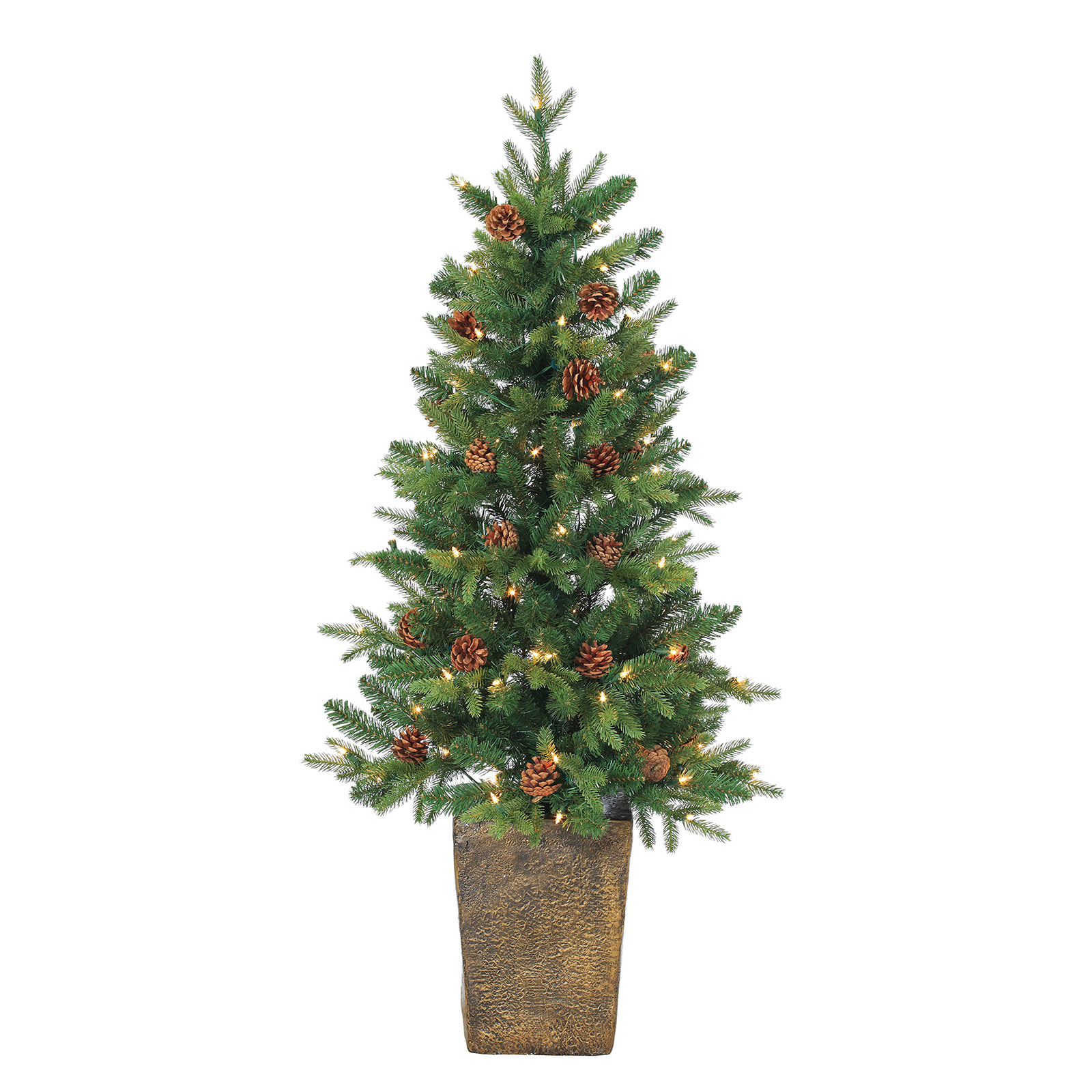 Christmas Tree Pot: 4 Ft. Potted Georgia Pine Natural Cut Pre-Lit Full