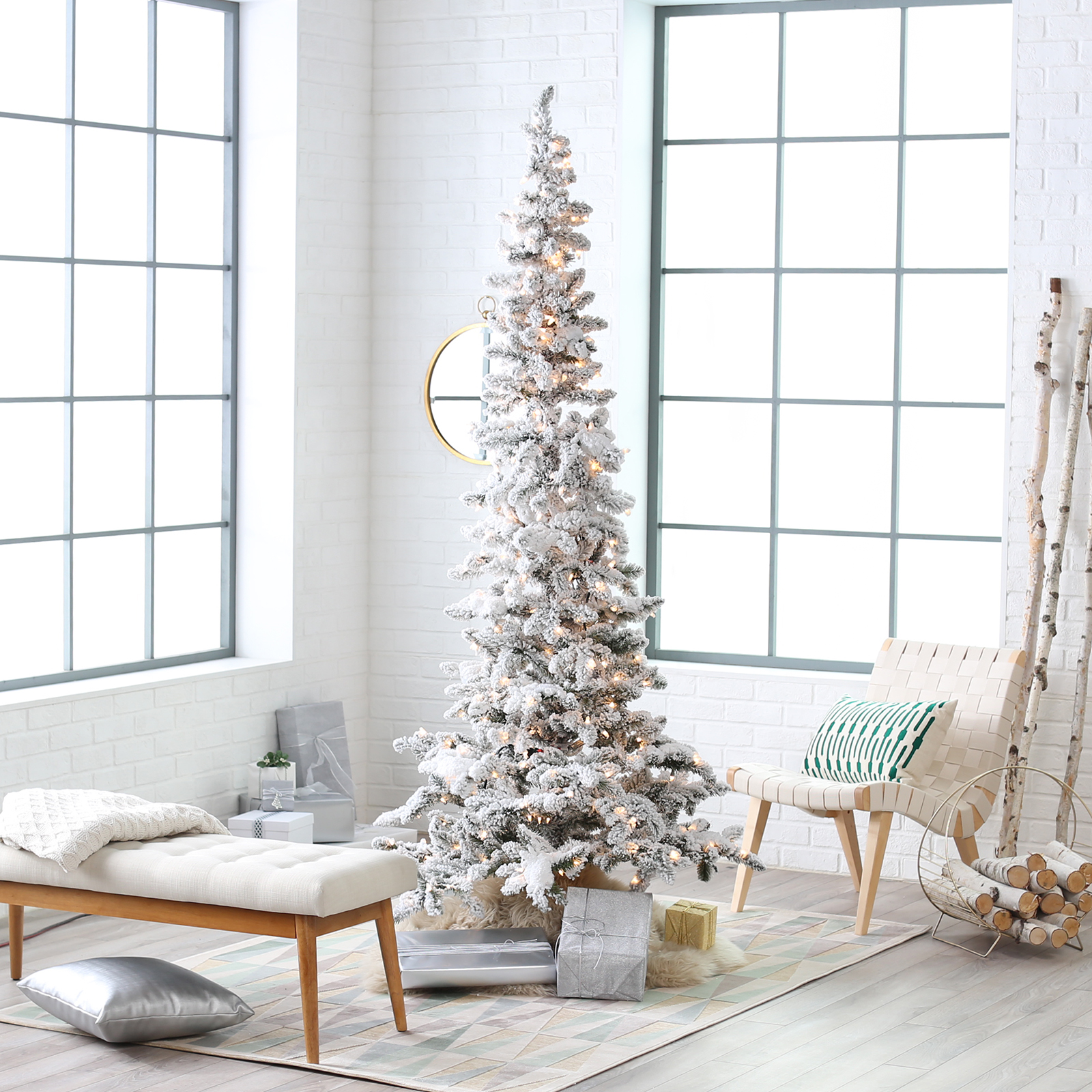 Narrow Flocked Austin Pine Pre-Lit Slim Christmas Tree ...
