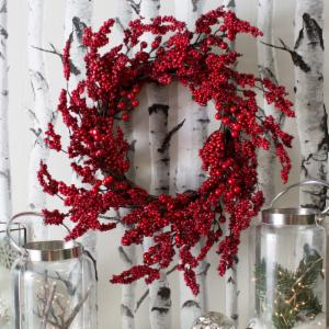 24 in. Holiday Red Berry Wreath