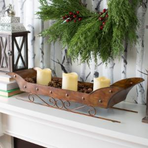Woodland Colors Metal Sleigh Centerpiece with Pinecones and LED Candles