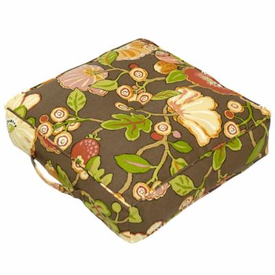 20 in. Outdoor/Indoor Square Floor Pillow Hip Floral-Chocolate