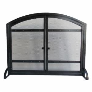 Pleasant Hearth FA338S Harper 1-Panel Fireplace Screen with Doors - Antique Black Finish