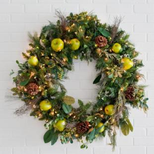 36 in. Green Apple Wreath