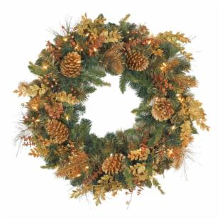 30 in. Gold Pine Cone Wreath