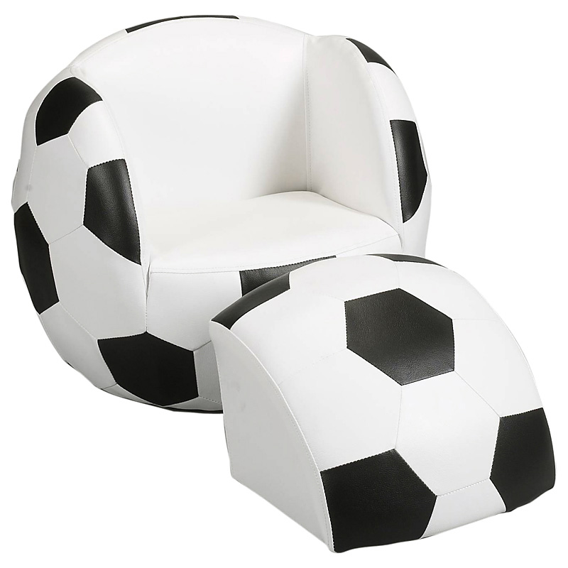 Childs Upholstered Soccer Ball Chair With Ottoman Kids