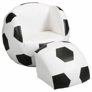 Childs Upholstered Soccer Ball Chair with Ottoman