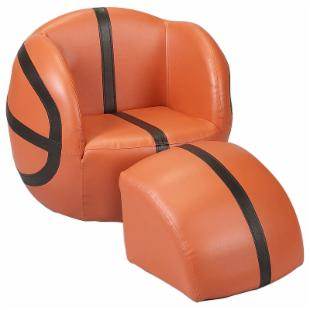 Childs Upholstered Basketball Chair with Ottoman