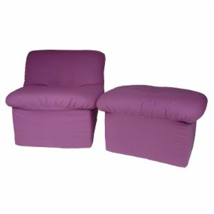 Fun Furnishings Purple Canvas Cloud Chair and Ottoman