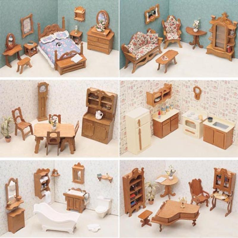Greenleaf 6 Room Furniture Kit Set-1 Inch Scale GNL033-1