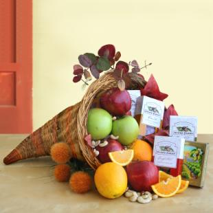 Give Thanks Thanksgiving Cornucopia Gift Basket