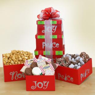 Joy, Peace, Noel Gourmet Gift Tower