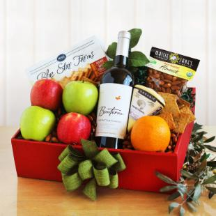 Organic Fruit and Wine Gift Box