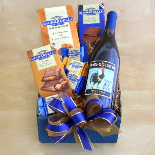 Wine and Chocolate For Dad Gift Basket