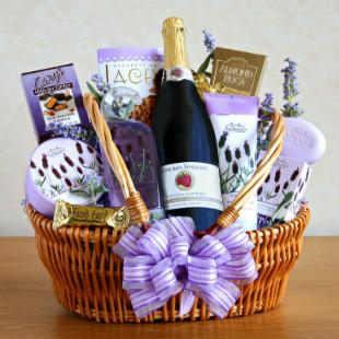Mom's Sparkling Lavender Retreat Gift Basket