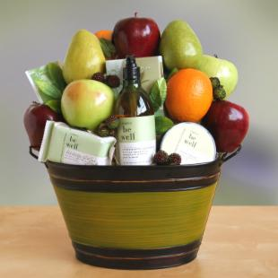 Life's Simple Pleasures Organic Fruit & Spa Gift Basket