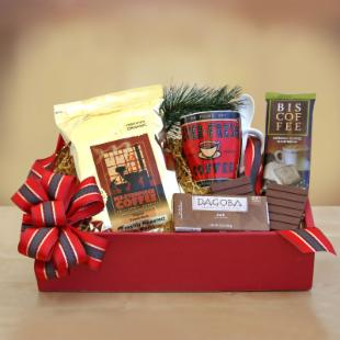 Organic Holiday Coffee and Chocolate Gift Basket