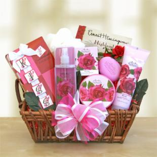 Romantic Roses Spa Gift Basket