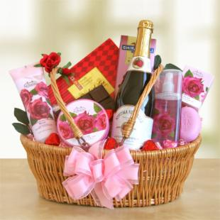 Pink and Sparkling Valentine Spa Gift Basket