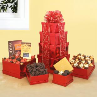 Tower of Godiva Chocolate Gift Basket