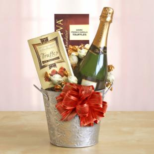 Sparkling Cheers and Chocolate Gift in Ice Bucket
