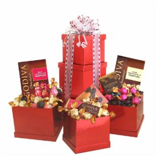 Godiva Heights of Passion Valentine's Tower Gift Basket