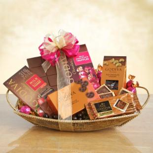 Golden Tray of Godiva Gift Basket