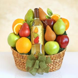 Three Pears Wine & Fruit Medley Gift Basket by California Delicious