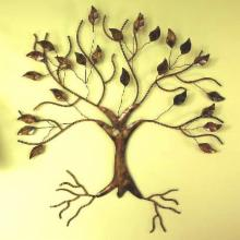  Ancient Graffiti Torched Copper Tree Wall Sculpture