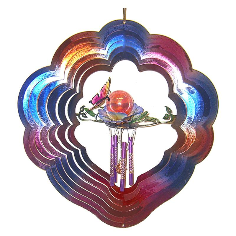 Great World Butterfly 3D Wind Spinner and Chime with Gazing Ball GREI643-1