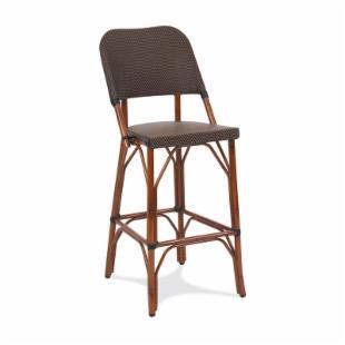 GAR Products 30-Inch Seaside Collection Resin Wicker Bar Stool - Dark Bamboo
