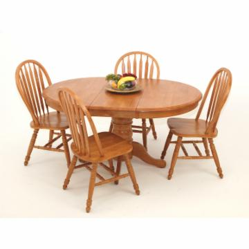 Casual Home Oval Pedestal Solid Wood Table