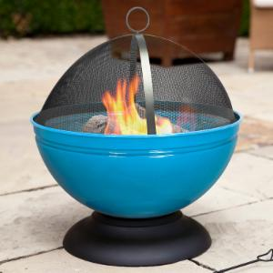 La Hacienda Globe Enameled 22 in. Round Wood Burning Fire Pit with FREE Grill Grate