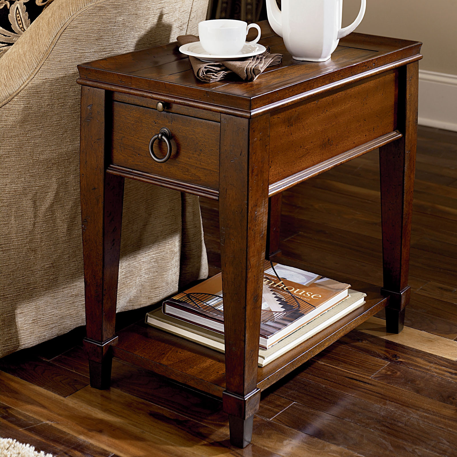 Hammary sunset valley chairside table rich mahogany end tables at hayneedle for Mahogany side tables living room