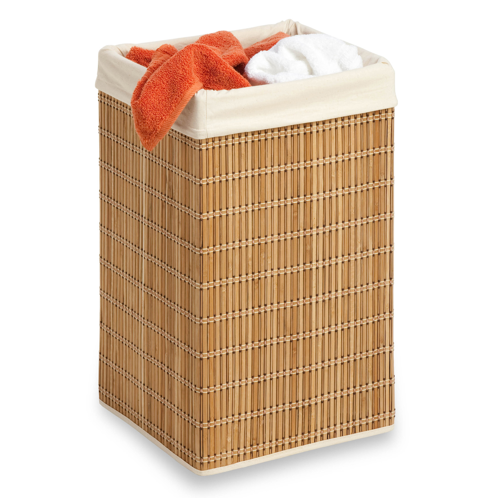 Honey can do square bamboo wicker hamper laundry hampers at hayneedle - Rattan clothes hamper ...