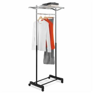 Honey Can Do Garment Rack with Top Shelf and Grid