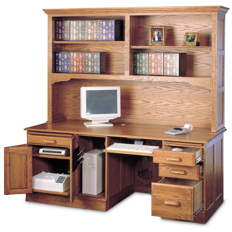Haugen deluxe oak computer desk with optional hutch at hayneedle - Hutch style computer desk ...