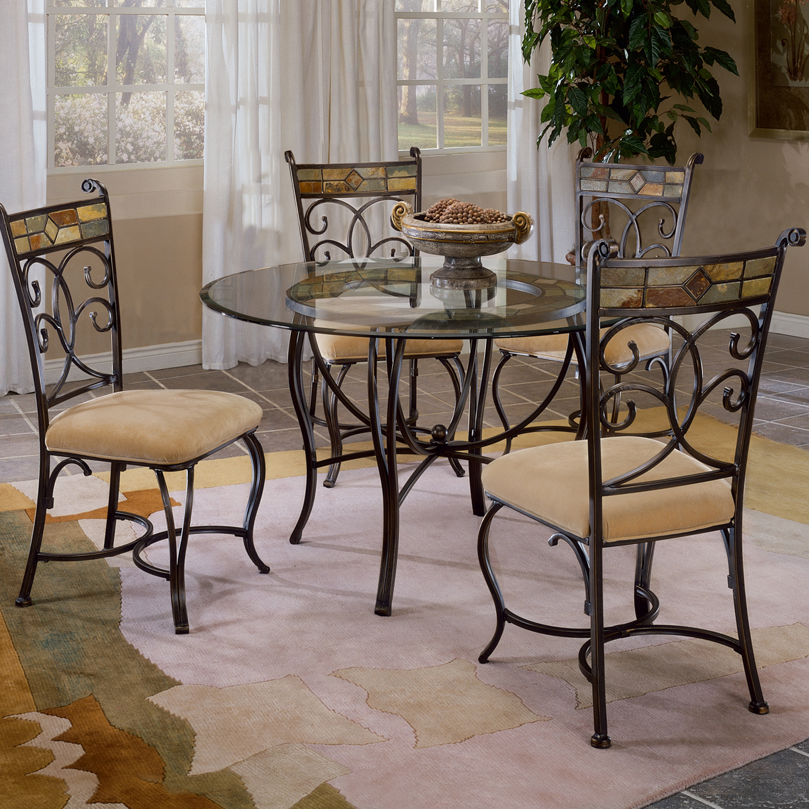Glass Dinning Set: Hillsdale Pompei 5-Piece Dining Set With Glass Top-Black