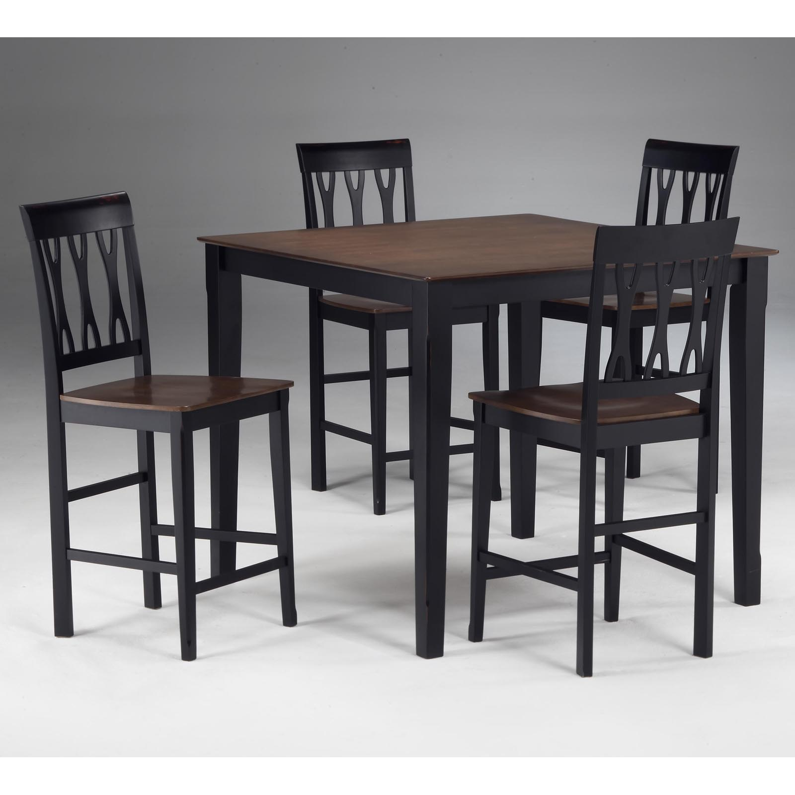 Riverview 5 piece square counter height dining set black for Square dinette sets