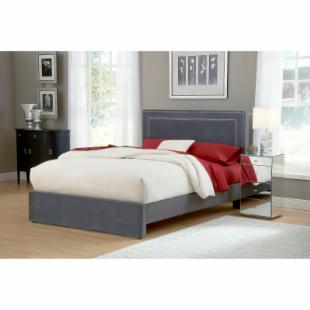 Amber Upholstered Bed - Pewter