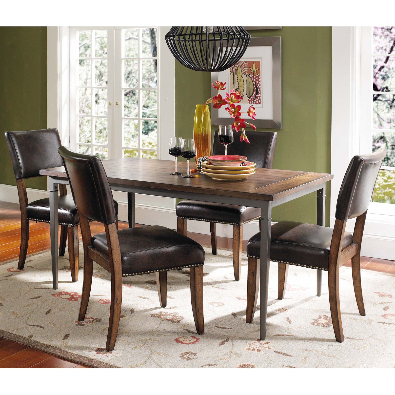 Wood And Metal Dining Table Set With Parson Chairs Dining Table Sets. Full resolution‎  file, nominally Width 1600 Height 1600 pixels, file with #A73C24.