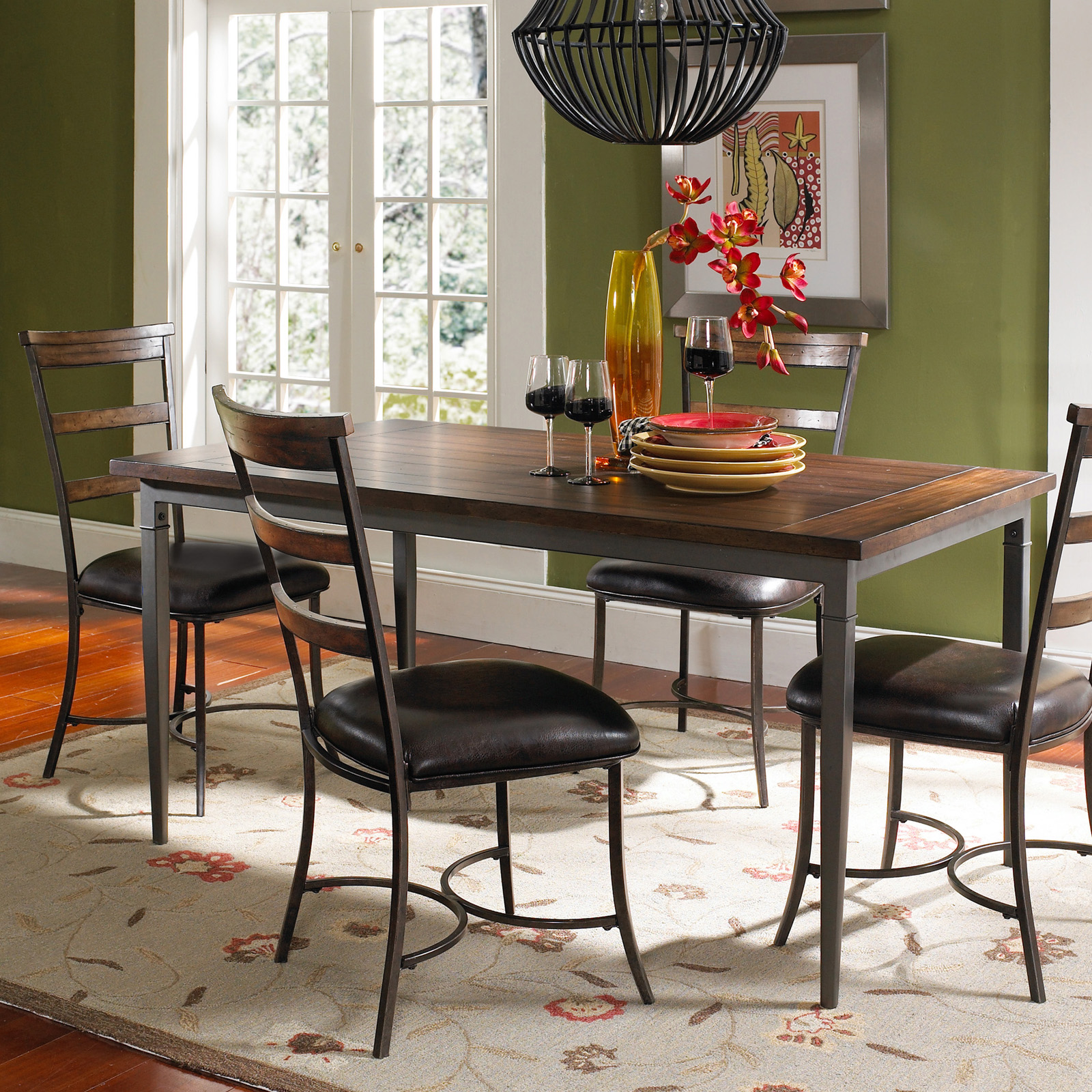 Wood And Metal Dining Table Set With Ladder Back Chairs Dining Table. Full resolution‎  file, nominally Width 1600 Height 1600 pixels, file with #B23E19.