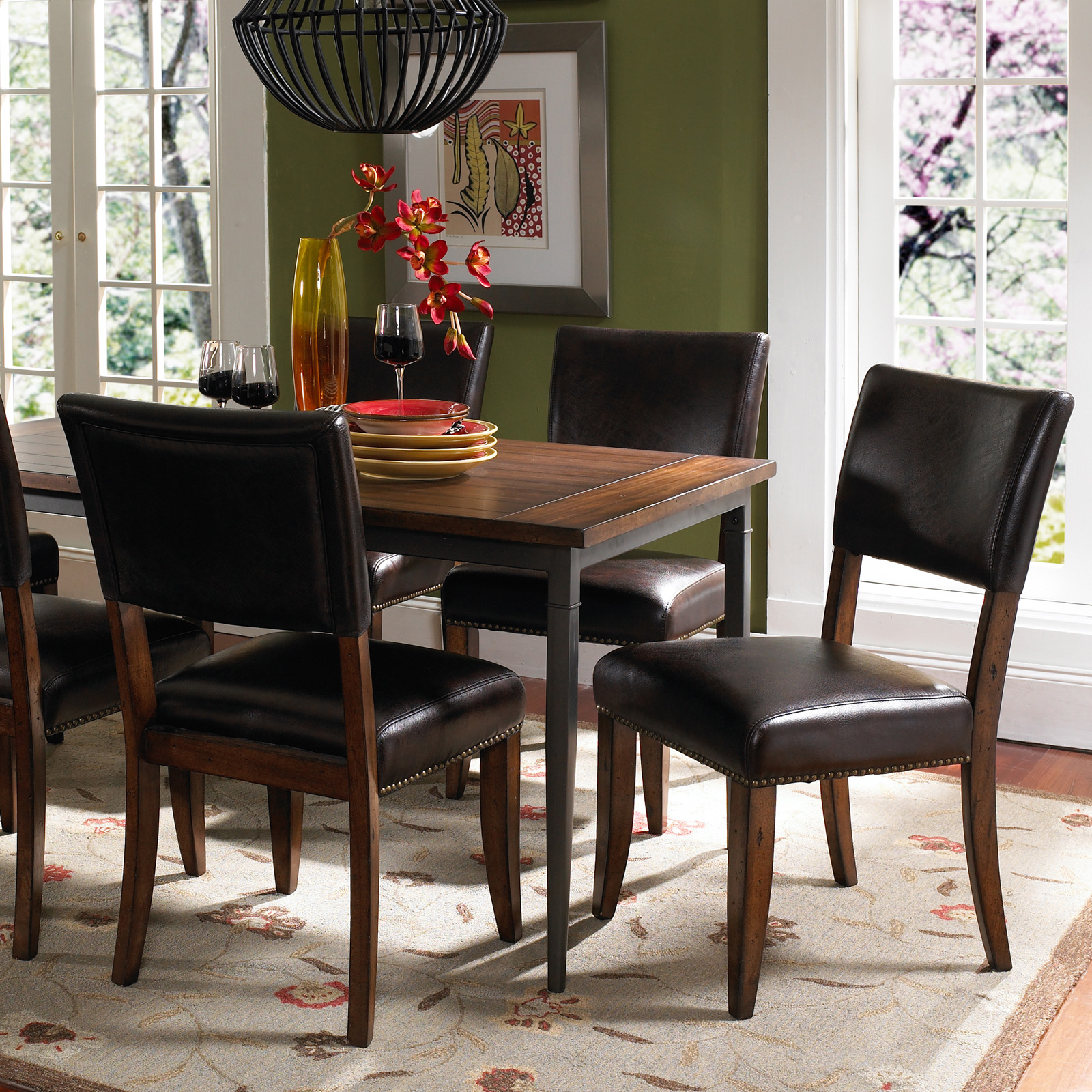 Wood And Metal Dining Table Set With Parson Chairs Dining Table Sets. Full resolution‎  file, nominally Width 1600 Height 1600 pixels, file with #A02C2C.