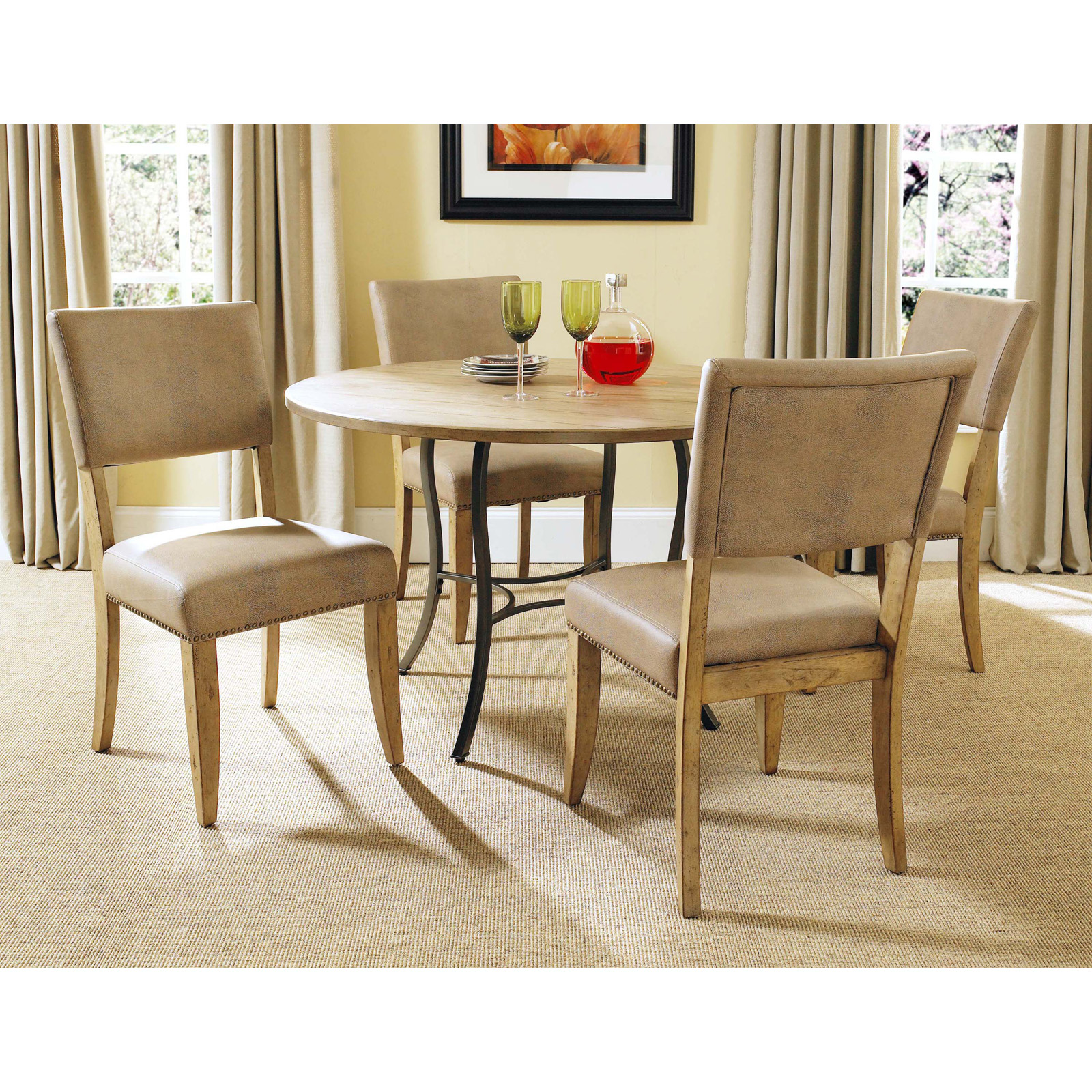 Wood & Metal Dining Set With Parson Chairs Dining Table Sets At. Full resolution‎  file, nominally Width 1600 Height 1600 pixels, file with #B9170F.