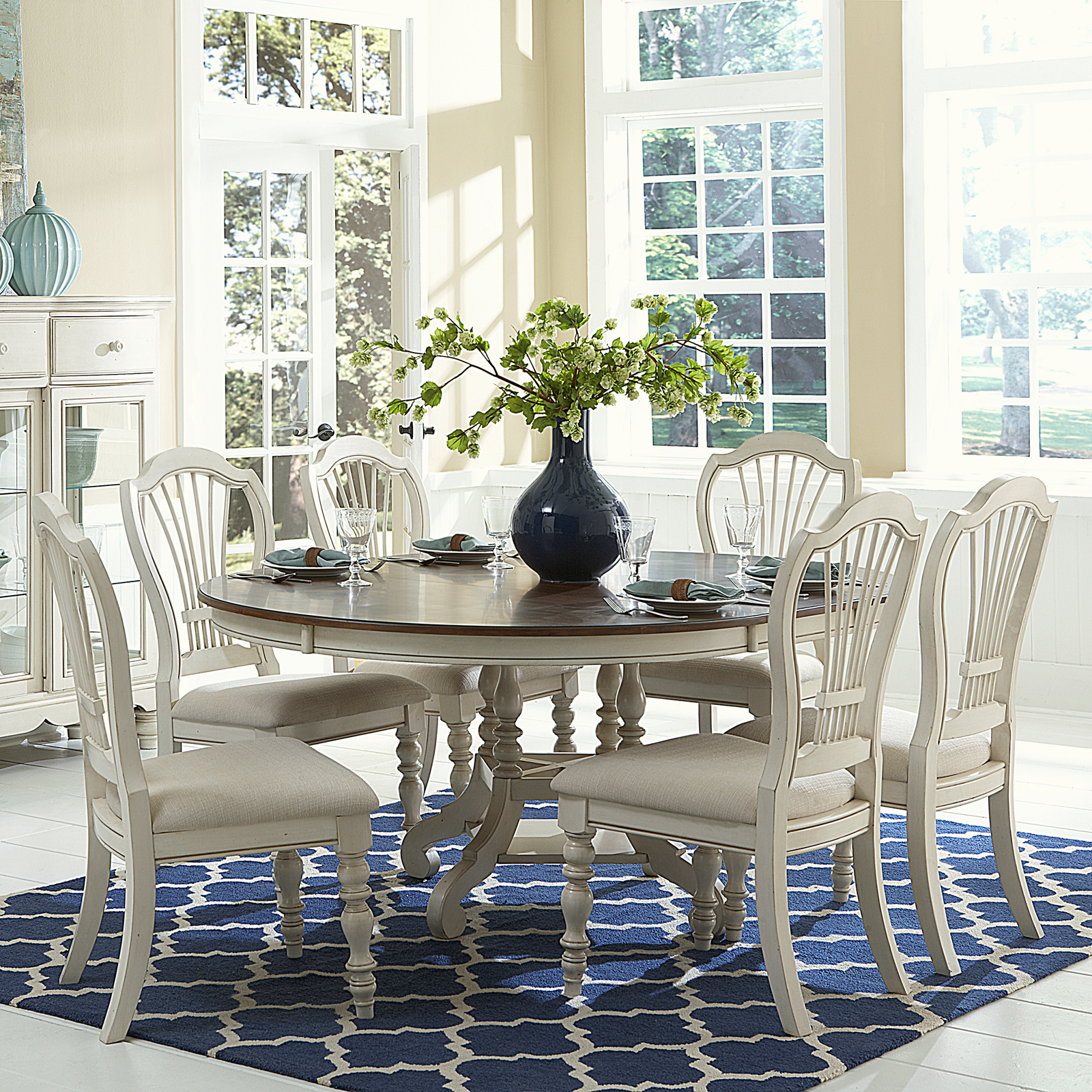 piece round dining set with wheat back chairs dining table sets at