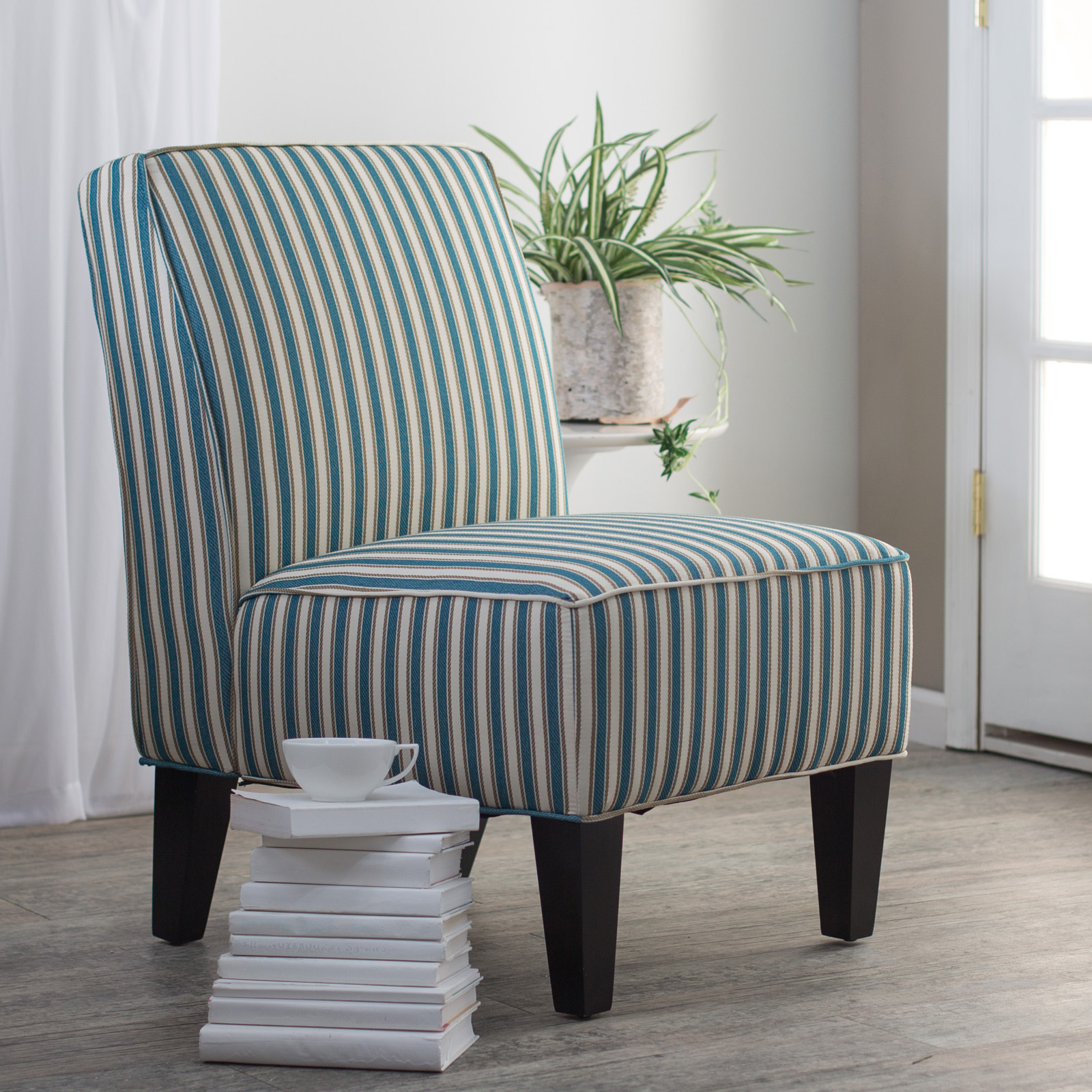 Angelo Home Dover Chair Cottage Stripe Turquoise Blue