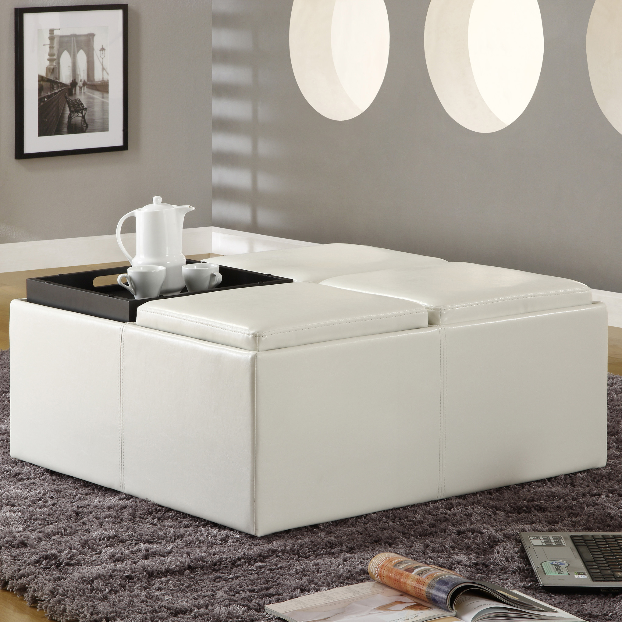 Snow Extra Large Storage Ottoman With Serving Trays